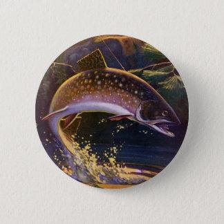 Le cru folâtre la pêche de poissons de truite, badges