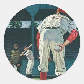 Le cru folâtre le broc de joueurs de baseball sur sticker rond
