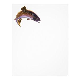 Le cru folâtre le saumon de pêche de poissons de t prospectus avec motif
