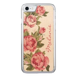 Le cru personnalisé rougissent les pivoines roses coque en bois iPhone 7