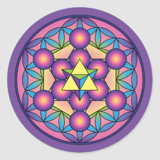 Le cube Merkaba de Metatron sur la fleur de la vie Sticker Rond