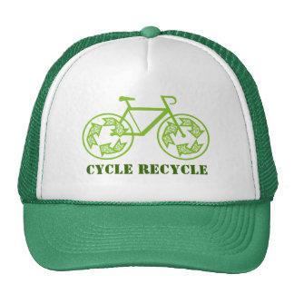 Le cycle réutilisent des casquettes