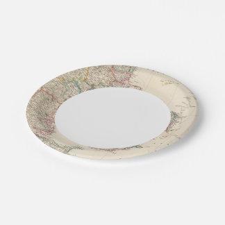 Le Danemark avec la carte d'encart de l'Islande Assiettes En Papier
