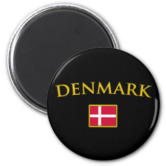 Le Danemark d'or Magnet Rond 8 Cm
