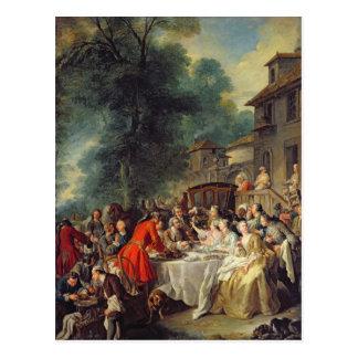 Le déjeuner de chasse, 1737 carte postale