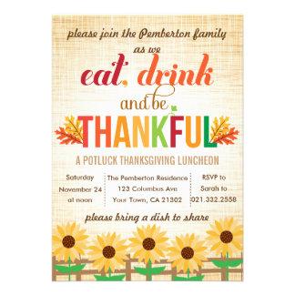 Le déjeuner Potluck de thanksgiving mangent la boi Invitations