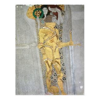 Le détail de chevalier de la frise de Beethoven Carte Postale