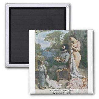 Le détail de l'atelier des peintres par Courbet Magnet Carré