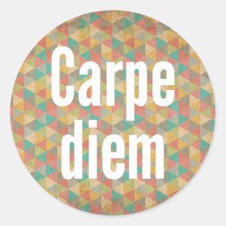 Le diem de Carpe, saisissent le jour, motif coloré Sticker Rond