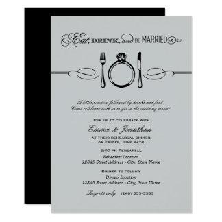 Le dîner argenté | de répétition mangent la carton d'invitation  12,7 cm x 17,78 cm