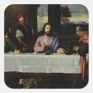 Le dîner chez Emmaus, c.1535 Sticker Carré
