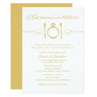 Le dîner | de répétition d'or mangent la boisson carton d'invitation  12,7 cm x 17,78 cm