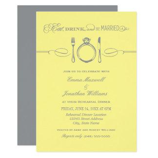 Le dîner jaune | de répétition mangent la boisson carton d'invitation  12,7 cm x 17,78 cm