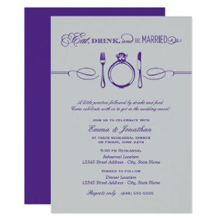 Le dîner pourpre | de répétition mangent la carton d'invitation  12,7 cm x 17,78 cm