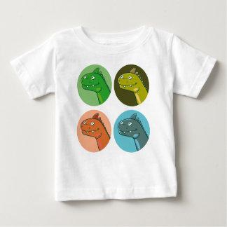 le dinosaure drôle de couleur de quadruple dirige t-shirt pour bébé
