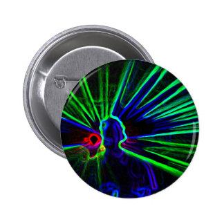 Le DJ et le bouton de lumières lasers/insigne Badge