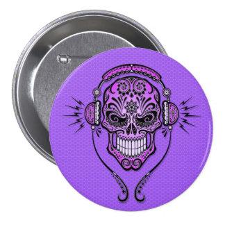 Le DJ pourpre sucrent le crâne Badge
