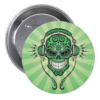 Le DJ vert sucrent le crâne avec des rayons de lum Badge