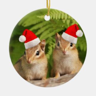 Le double de tamia de bébé de Père Noël a dégrossi Ornement Rond En Céramique