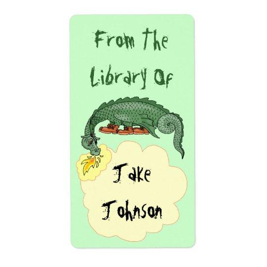 Le dragon d'ex-libris respire le nom de la étiquette d'expédition