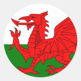 Le dragon rouge [drapeau du Pays de Galles] Adhésif Rond