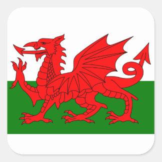 Le dragon rouge [drapeau du Pays de Galles] Autocollant Carré