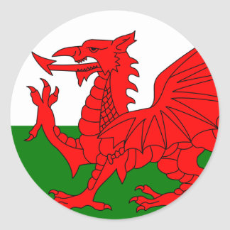 Le dragon rouge [drapeau du Pays de Galles] Sticker Rond