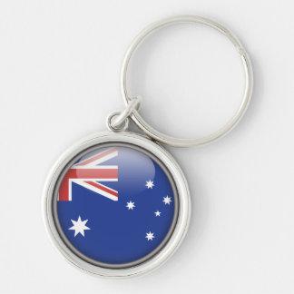 Le drapeau australien porte-clé rond argenté