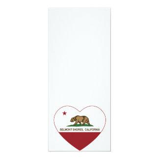le drapeau Belmont de la Californie étaye le coeur Carton D'invitation 10,16 Cm X 23,49 Cm