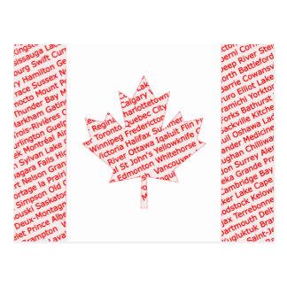Le drapeau canadien avec la ville et la ville carte postale