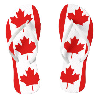 Le drapeau de feuille d'érable du Canada Tongs