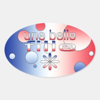 Le drapeau de Fille France de belle d Une colore l Adhésifs