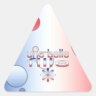 Le drapeau de Fille France de belle d Une colore l Sticker En Triangle
