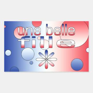 Le drapeau de Fille France de belle d'Une colore Autocollant En Rectangle