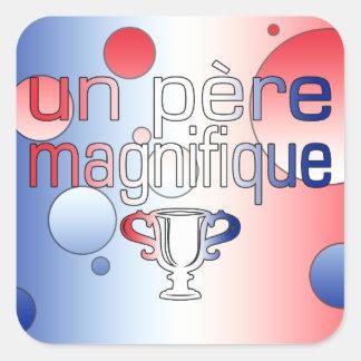 Le drapeau de l ONU Père Magnifique France colore Autocollants Carrés