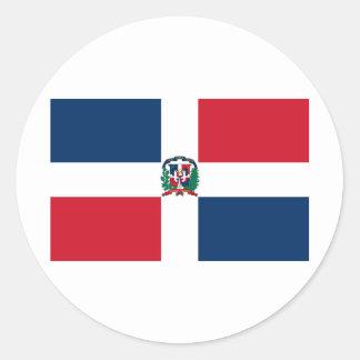 Le drapeau de la République Dominicaine FONT Adhésifs Ronds