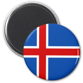 Le drapeau de l'Islande Magnet Rond 8 Cm