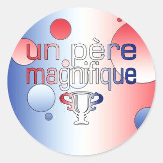 Le drapeau de l'ONU Père Magnifique France colore Autocollant Rond