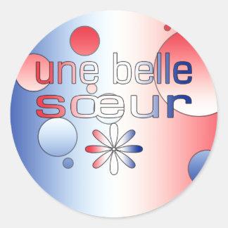 Le drapeau de Sœur France de belle d'Une colore Adhésifs Ronds