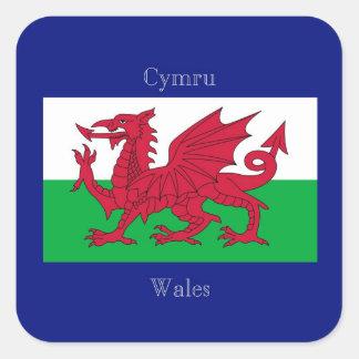 Le drapeau du Pays de Galles Stickers Carrés