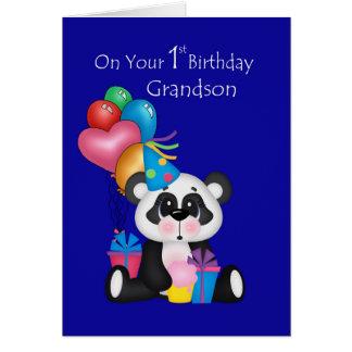 Le ęr anniversaire, le panda et les ballons du carte de vœux