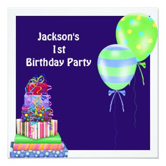 Le ęr gâteau d'anniversaire de garçons monte en carton d'invitation  13,33 cm