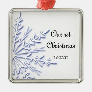 Le ęr Noël de flocon de neige bleu ornementent Ornement Carré Argenté