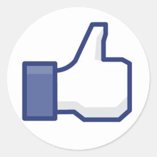 le facebook AIMENT le pouce Adhésifs Ronds