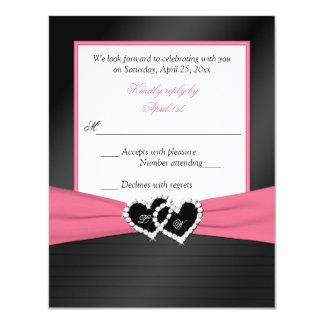 Le FAUX noir blanc rose plisse des coeurs épousant Carton D'invitation 10,79 Cm X 13,97 Cm