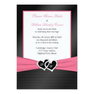 Le FAUX noir blanc rose plisse des coeurs épousant Carton D'invitation 12,7 Cm X 17,78 Cm
