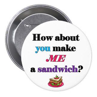 Le féministe me font un sandwich, bouton badges