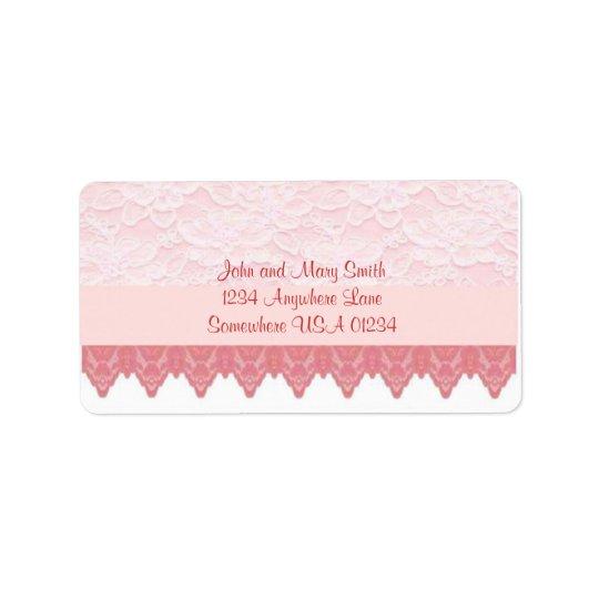 Le feston rose et lacent l'étiquette de adresse 2 étiquette d'adresse