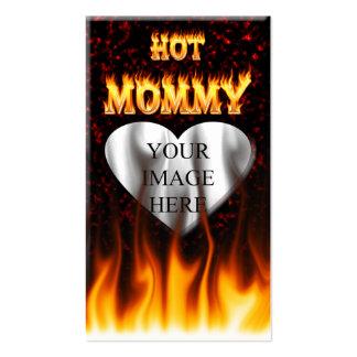 Le feu chaud de maman et coeur de marbre rouge carte de visite standard