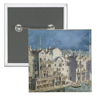 Le feu chez le Pont Meuniers aux. en 1621 Badge Carré 5 Cm